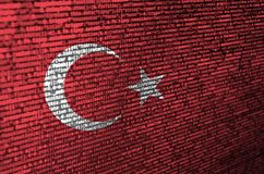 Turkey flag is depicted on the screen with the program code. The concept of modern technology and site development.  stock images