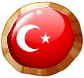 Turkey flag design on round badge Royalty Free Stock Images