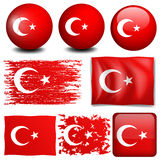 Turkey flag on different objects Stock Image