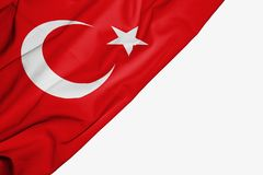 Turkey flag of fabric with copyspace for your text on white background stock illustration