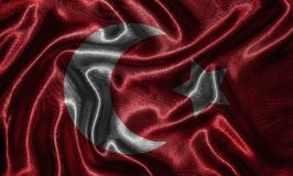 Wallpaper by Turkey flag and waving flag by fabric. Turkey flag - Fabric flag of Turkey country, Background and wallpaper of waving flag by textile stock images