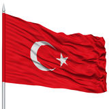 Turkey Flag on Flagpole stock photography