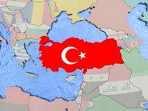 Turkey with flag on globe Stock Photography