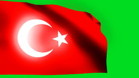 Turkey flag green back. HD 1080i stock video footage