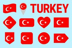 Turkey flag icon set. Flat isolated symbols. Vector Turkish national flags set with state name. traditional colors. Web, sports pa vector illustration