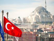 Turkey flag, Istanbul, Turkey. Royalty Free Stock Images