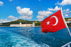 Turkey flag and Istanbul view Royalty Free Stock Photos