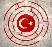 Turkey flag in the labyrinth Stock Images