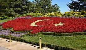 Turkey flag made of flowers Stock Photo