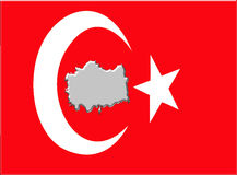 Turkey flag with map Stock Photo