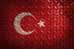 Turkey flag,metal texture on background.  stock images