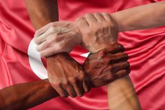 Turkey flag multicultural group of young people integration diversity.  royalty free stock images