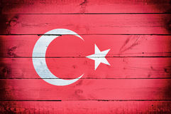Turkey flag. Official flag of Turkey on the wooden background Royalty Free Stock Images
