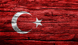 Turkey flag on old background retro effect Stock Photos