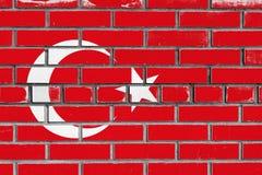 Turkey flag on bricks wall. Turkey flag painted on bricks wall stock image