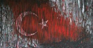 Turkey Flag painted on grunge wall Stock Photos