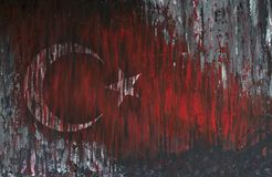 Turkey Flag painted on grunge wall Royalty Free Stock Image