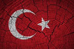 Turkey flag. Painted on old wood background royalty free stock photos