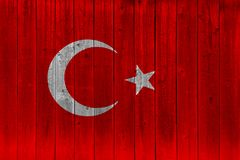 Turkey flag painted on old wood plank. Patriotic background. National flag of Turkey royalty free stock images