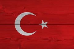 Turkey flag painted on old wood plank. Patriotic background. National flag of Turkey stock photography