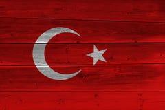 Turkey flag painted on old wood plank. Patriotic background. National flag of Turkey stock photo