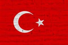 Turkey flag painted on old wood plank. Patriotic background. National flag of Turkey stock photos