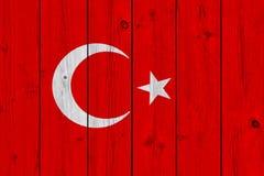 Turkey flag painted on old wood plank. Patriotic background. National flag of Turkey royalty free stock image