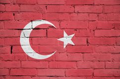 Turkey flag is painted onto an old brick wall vector illustration