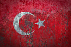 Turkey Flag painted on a Wall. Ddistressed Painting of a Flag on an old Wall Stock Image
