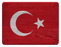 Turkey flag. Painted on wood tag stock image