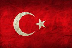 Turkey Flag on Paper. Flag on an old Paper Texture Royalty Free Stock Photos