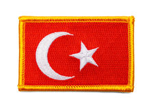 Turkey Flag Patch. Turkey Fabric Uniform Flag Patch Isolated on White Background royalty free stock photography