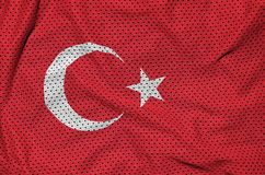 Turkey flag printed on a polyester nylon sportswear mesh fabric. With some folds stock image