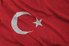 Turkey flag printed on a polyester nylon sportswear mesh fabric. With some folds stock photography