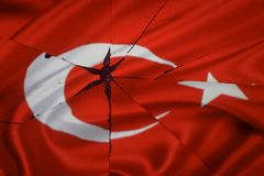 Turkey flag is reflected in broken mirror. Still life stock photos
