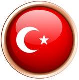 Turkey flag on round badge Royalty Free Stock Photo