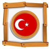 Turkey flag on round badge Royalty Free Stock Images