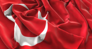 Turkey Flag Ruffled Beautifully Waving Macro Close-Up Shot. Studio Stock Photography