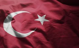 Turkey Flag Rumpled Close Up.  stock image