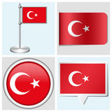 Turkey flag - set of sticker, button, label Stock Photo