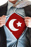 Turkey flag on shirt. Business man showing Turkey flag shirt royalty free stock photos