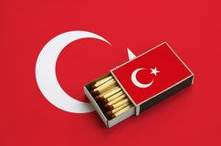 Turkey flag is shown in an open matchbox, which is filled with matches and lies on a large flag.  stock image
