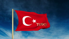 Turkey flag slider style with title. Waving in the. Wind with background  cloud animation stock footage
