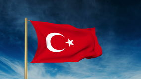 Turkey flag slider style. Waving in the wind with. Background  cloud animation stock video footage