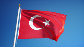 Turkey flag in slow motion seamlessly looped with alpha. Turkey flag waving in slow motion against clean blue sky, seamlessly looped, close up, isolated on alpha stock video