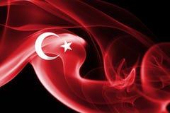 Turkey flag smoke. On a black background stock image