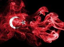 Turkey flag smoke. Isolated on black background stock photos