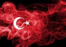 Turkey flag smoke. Isolated on a black background royalty free stock photography