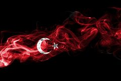 Turkey flag smoke. Isolated on a black background stock photos