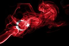 Turkey flag smoke. Isolated on a black background stock image